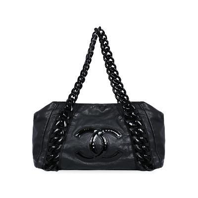 logo chain shoulder bag black